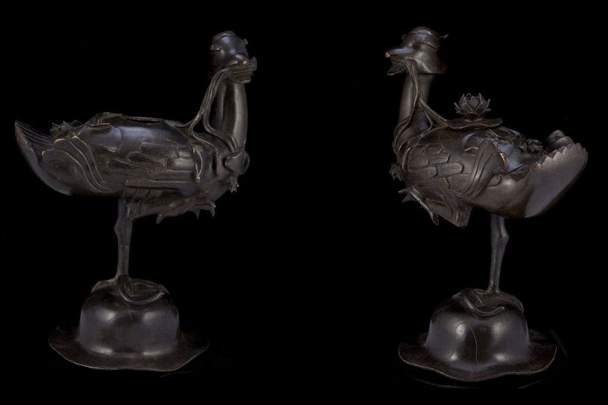 Ming pair of duck Bronze censers