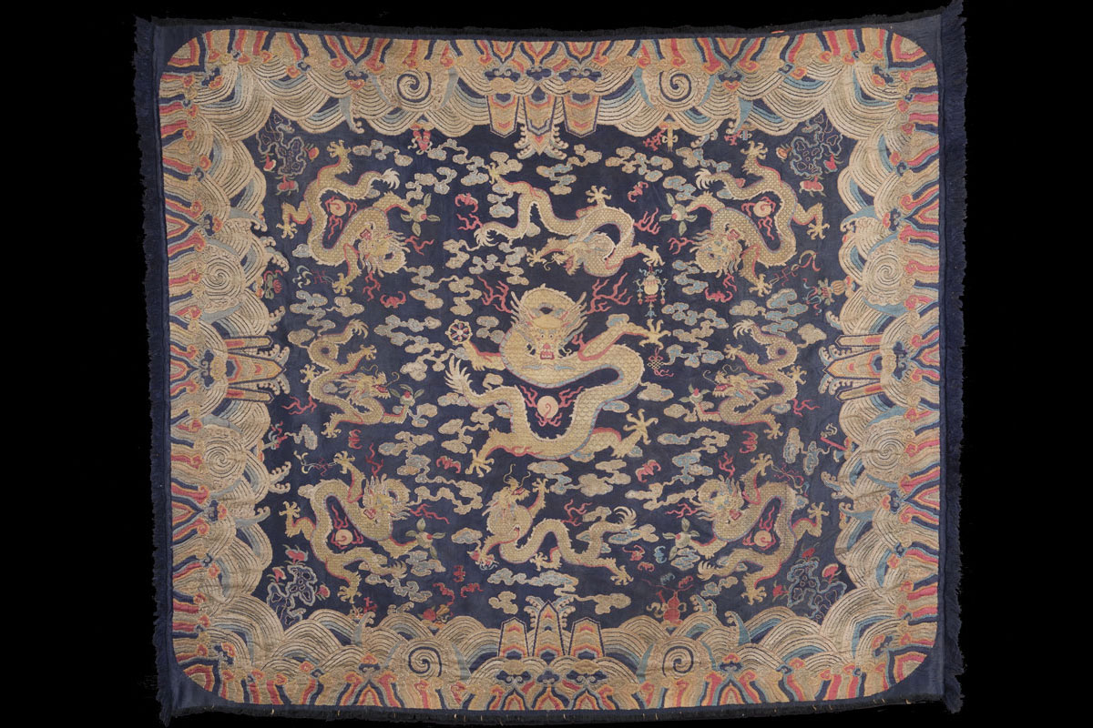 Kangxi Chinese Imperial nine five-clawed dragons blue ground silk kesi